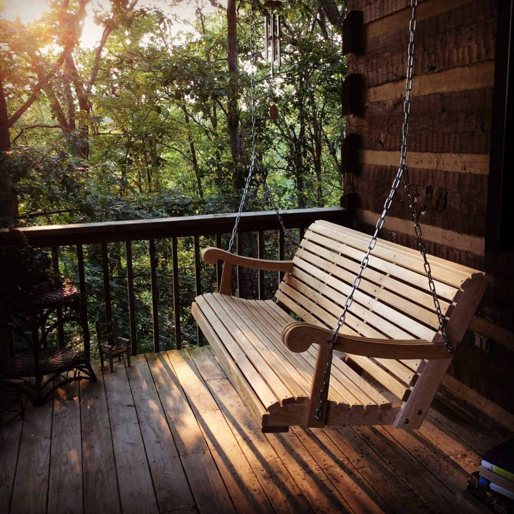 july cabin porch swing